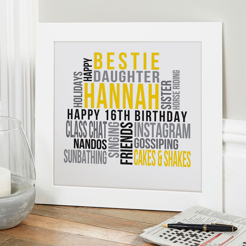 16th birthday gifts for girls personalized print square likes