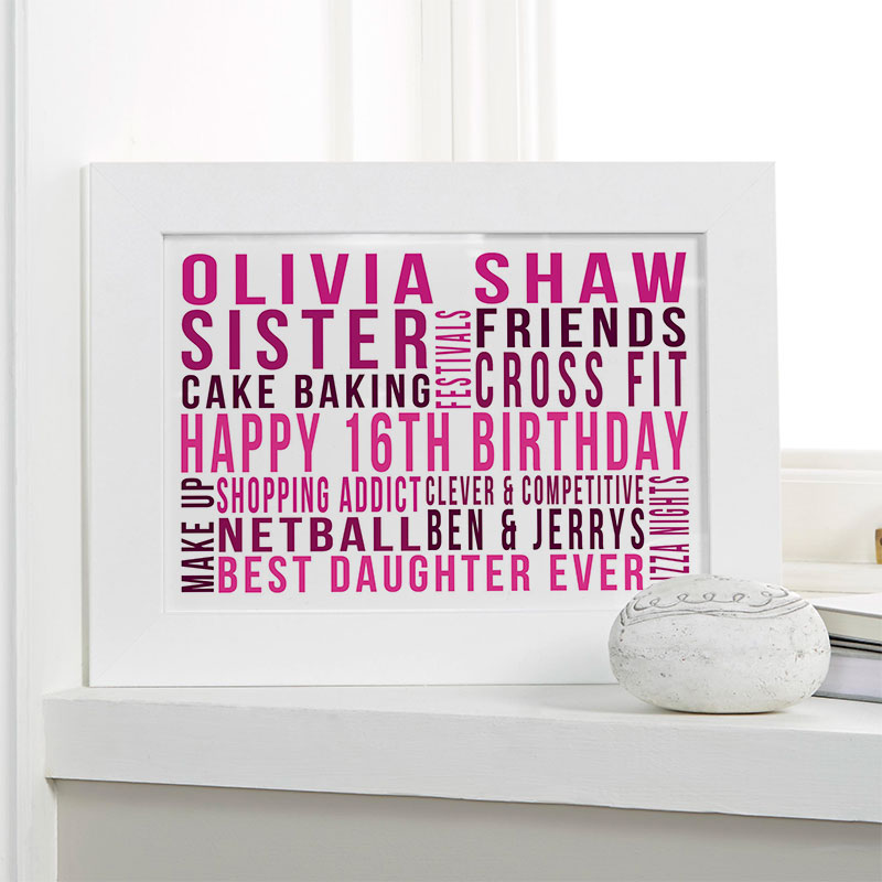 16th birthday gift ideas for girls personalized print landscape likes