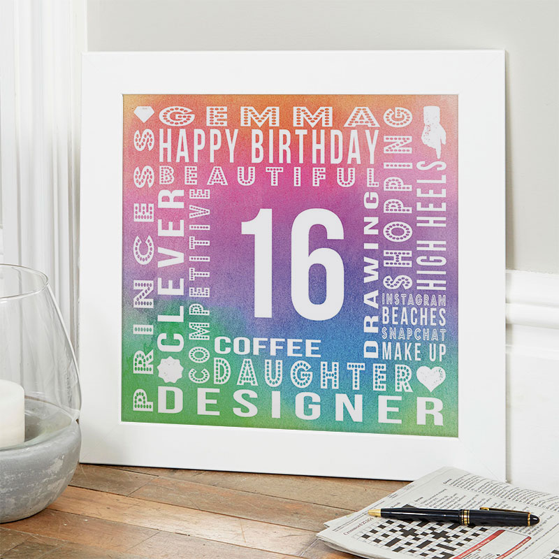 16th birthday unique gift for girls personalized year of birth word picture