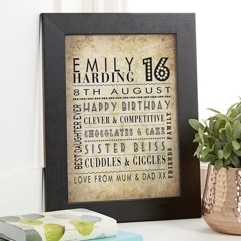 girls 16th birthday gift idea personalized print corner