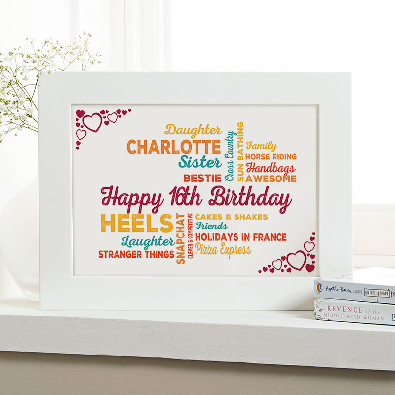 16th birthday gift for girls typographic art personalized framed print