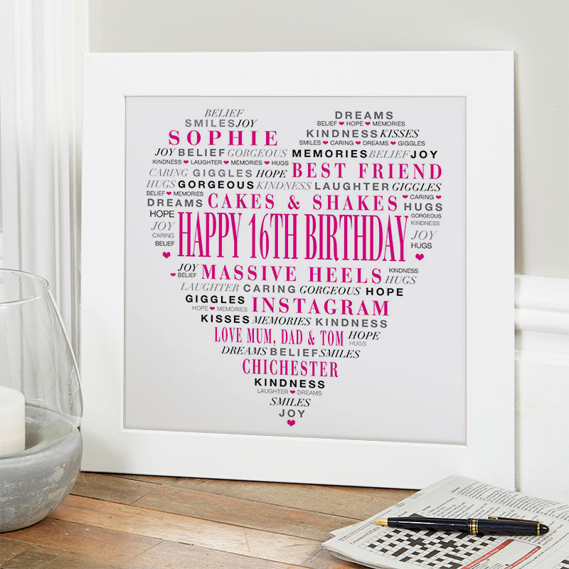 16th birthday gift for girls personalized love heart with words