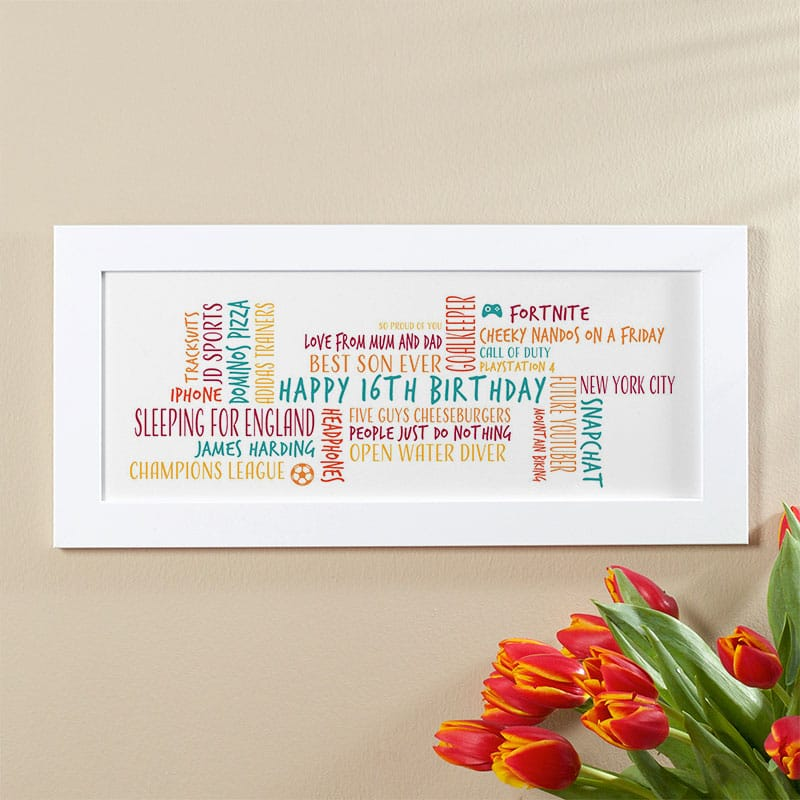 16th birthday gift for boys personalized word cloud