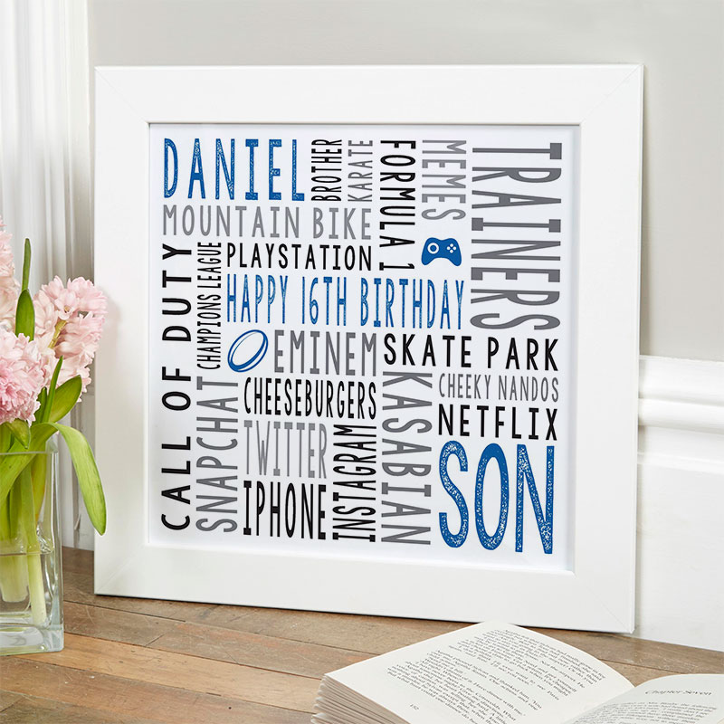 16th birthday gift for men personalized word art print square