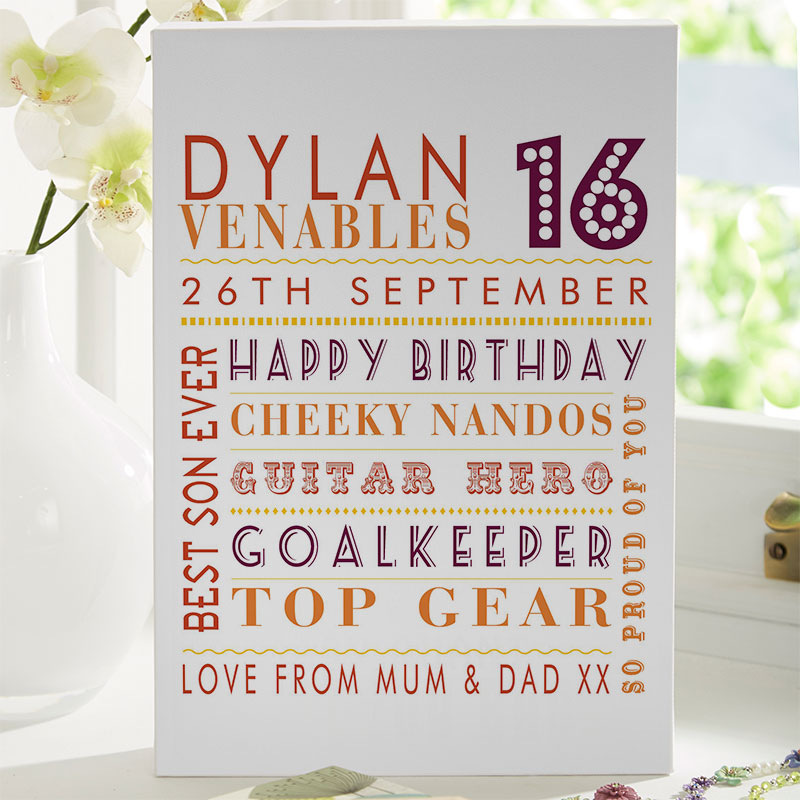 Personalized 16th Birthday Gifts With On Screen Previews