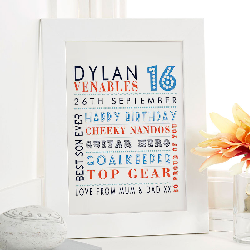 boys 16th birthday gift idea personalized picture print