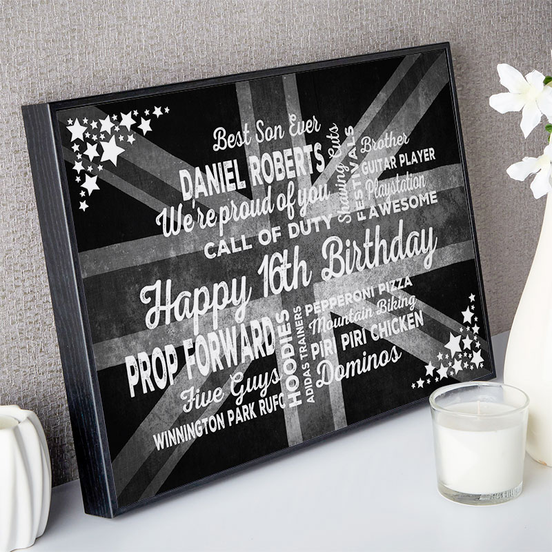 16th birthday gift for boys typographic art personalized print