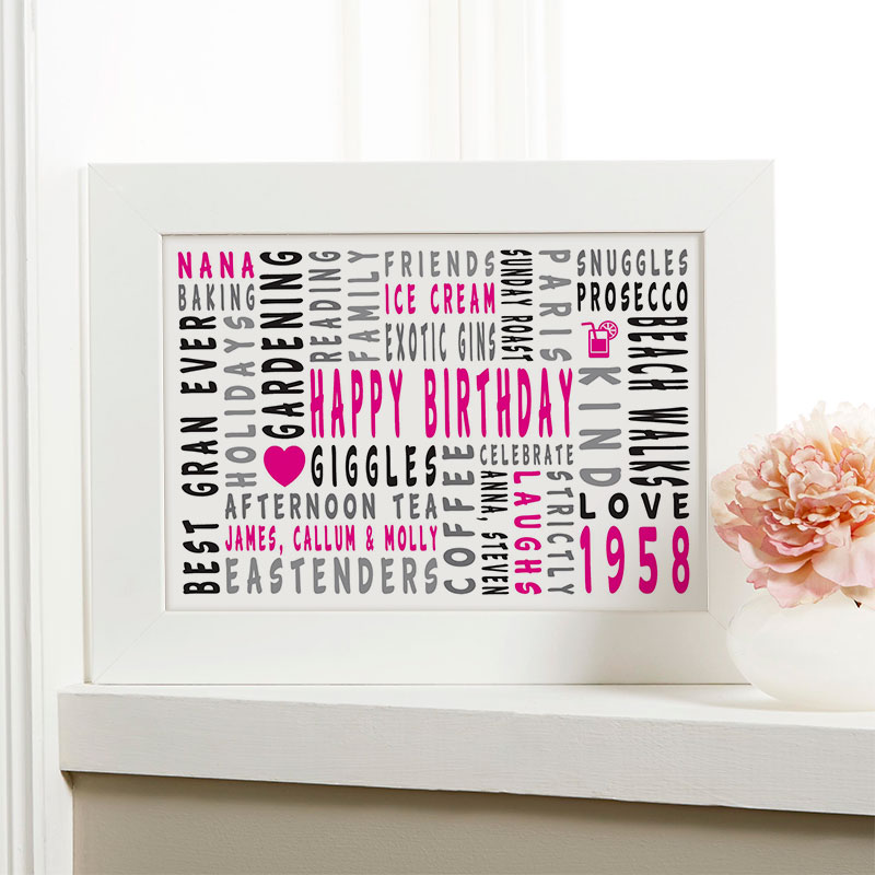 60th Birthday Personalized Word Art Gifts For Her