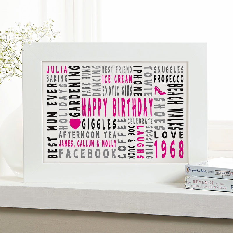 50th birthday personalized gift for her word art landscape icons