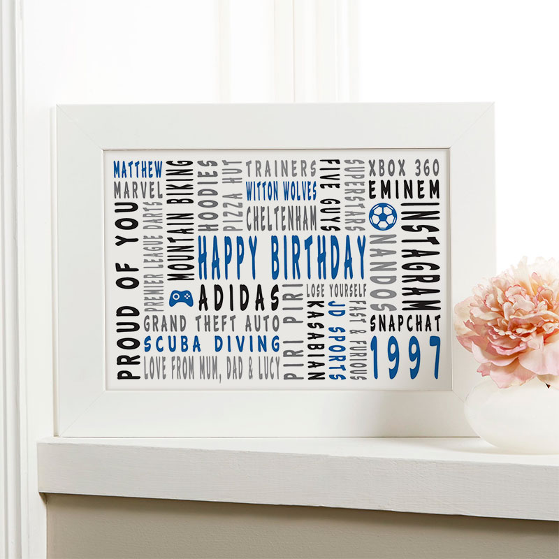 21st birthday personalized gift for him word art landscape icons