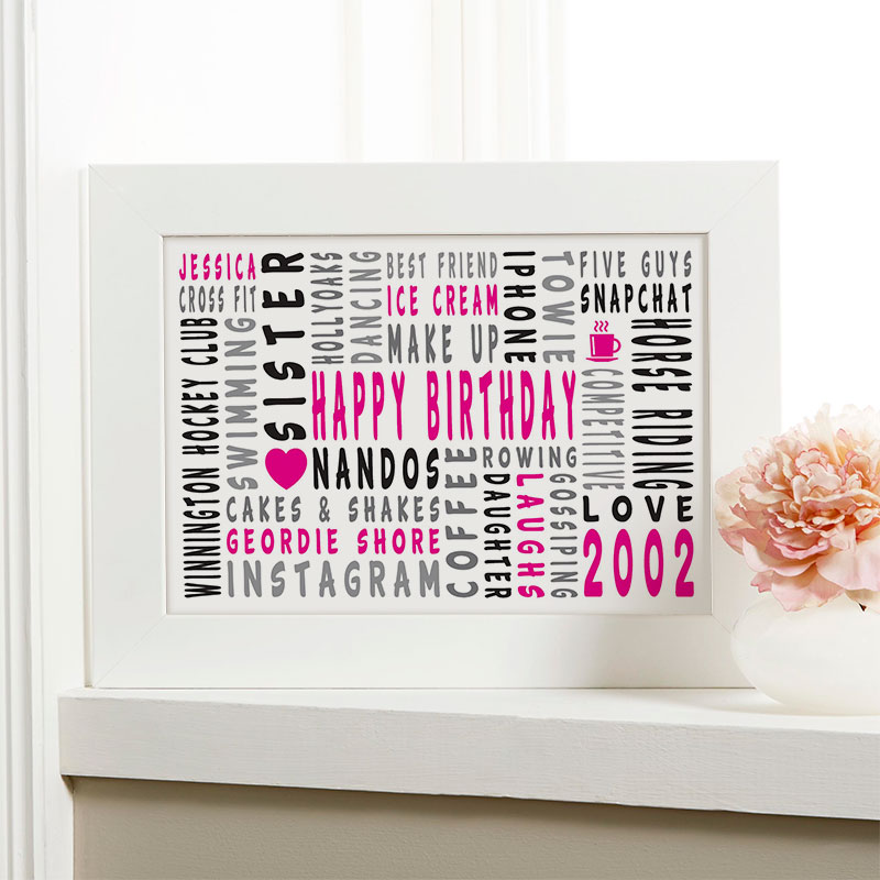 16th birthday personalized gift for girls word art landscape icons
