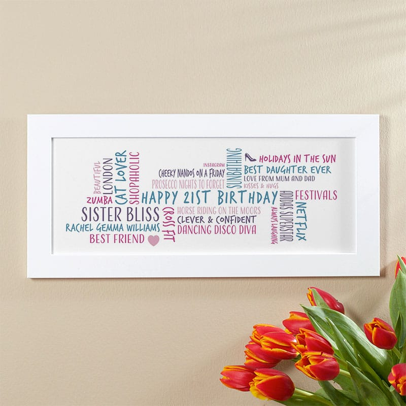 21st birthday gift idea personalized word cloud