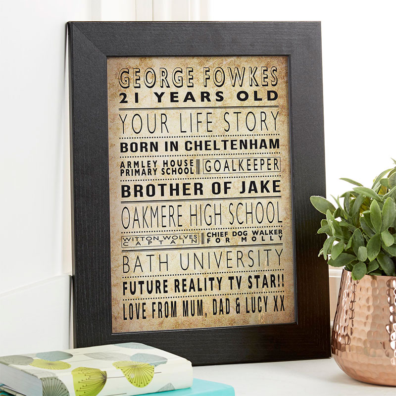 life story 21st birthday personalized gift