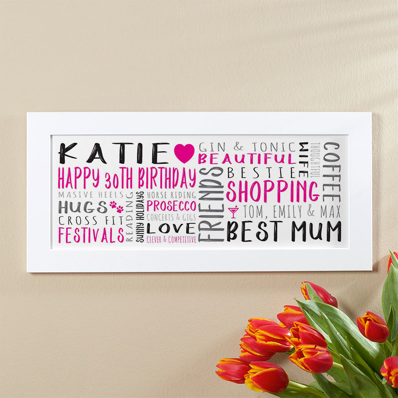 30th Birthday Gift for her of Wall Art