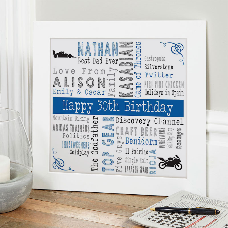 30th birthday gift ideas for him personalized square corners