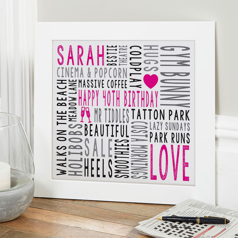 Personalized typographic prints posters canvases word art gifts for her mum wife sister