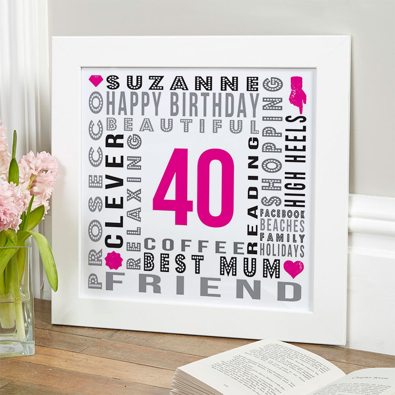 40th Birthday Gift Ideas For Her Of Unique Word Art