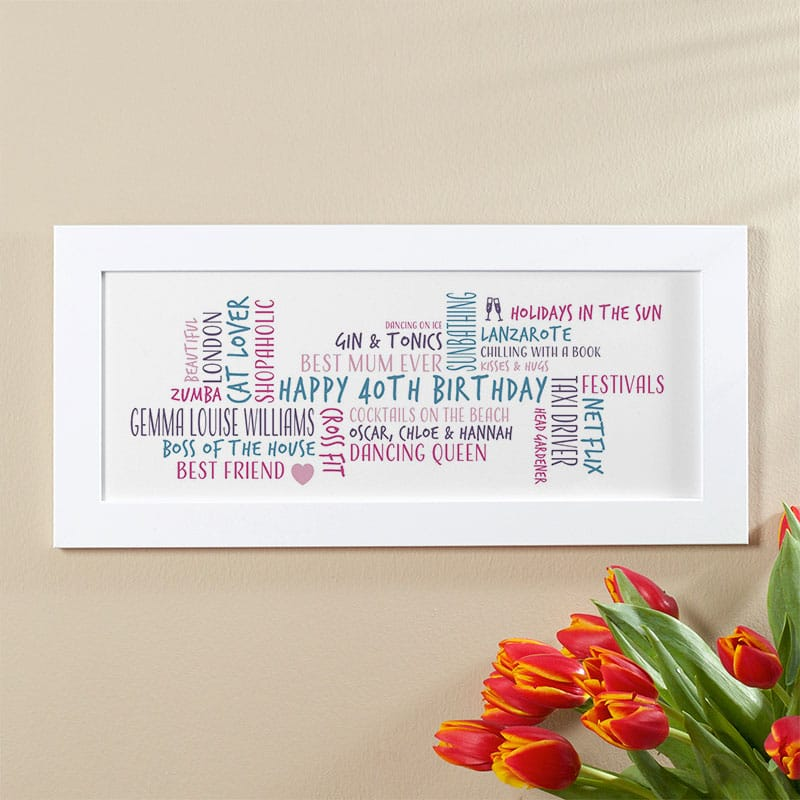 40th birthday gift idea for her personalized word cloud