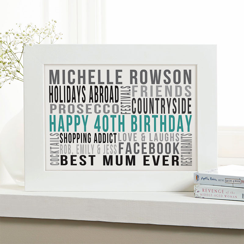 Personalized 40th Birthday Gifts For Her With Words