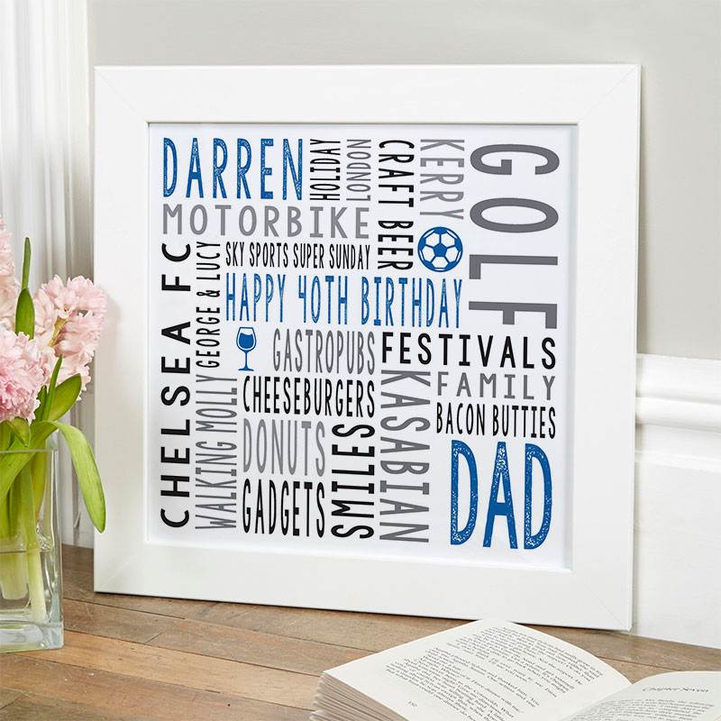40th birthday gift for him personalized