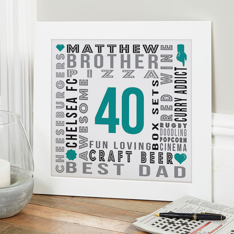 40th Birthday Gifts For Men Personalized Word Art Pictures Creative 40th birthday party ideas. chatterbox walls