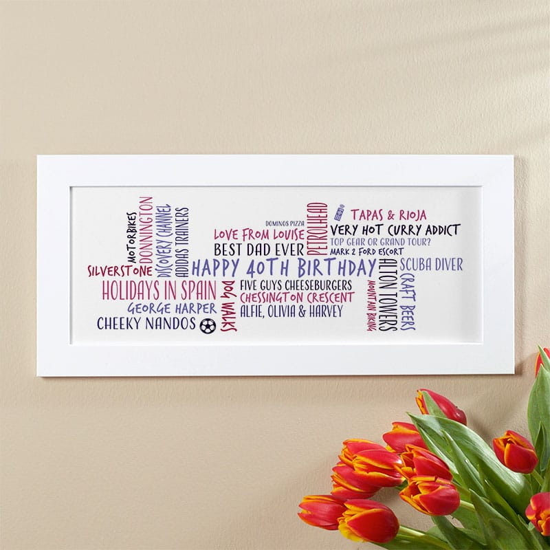 40th birthday gift idea for him personalized word cloud picture