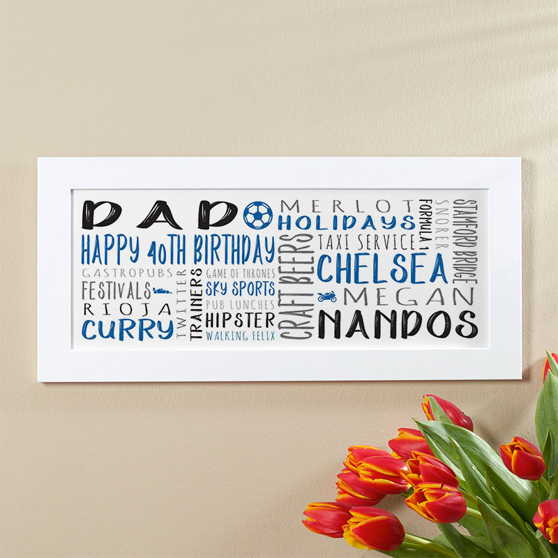 40th Birthday Gift For Men Of Personalized Panoramic Word Art