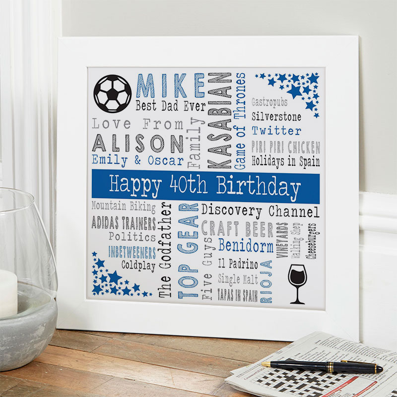 40th birthday gift ideas for him personalized square corners