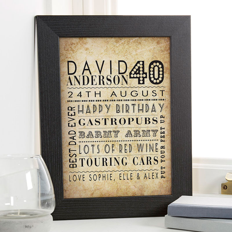 40th birthday unique gift for him