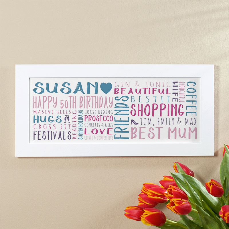 50th Birthday Gift Ideas For Her Of Unique Word Art