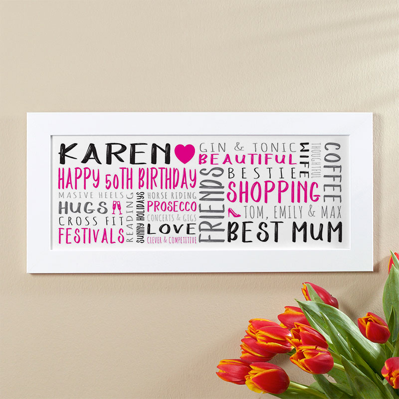 Personalized 50th Birthday Gift For Her Of Wall Art