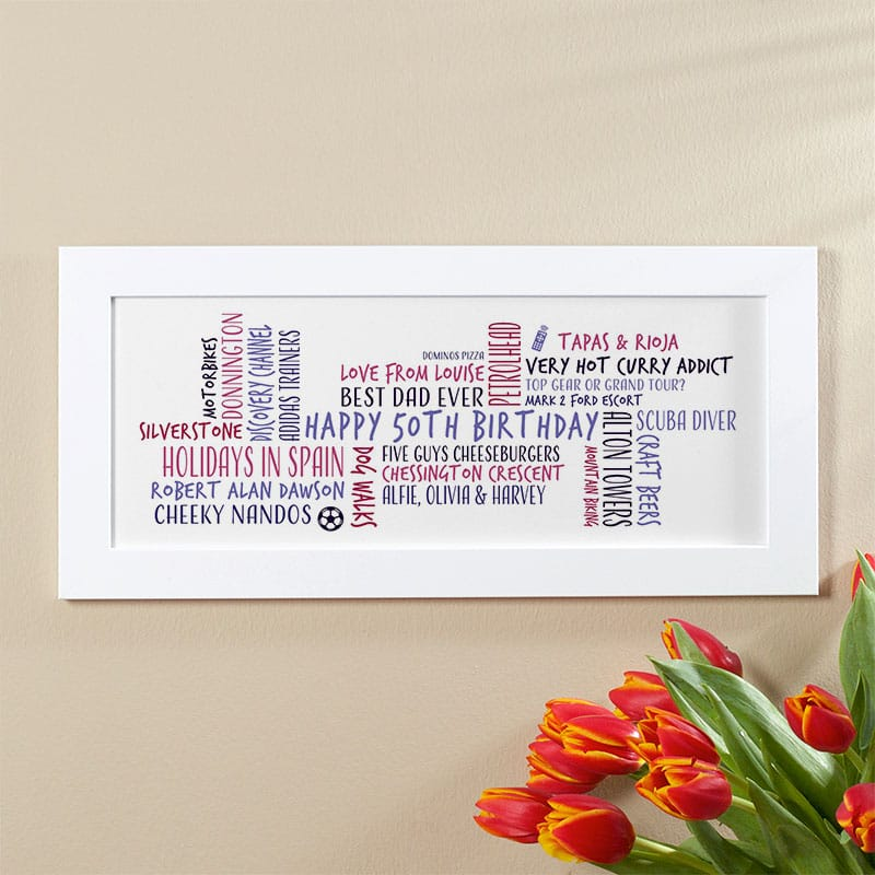 50th birthday gift idea for him personalized word cloud picture print