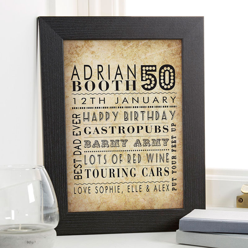 Personalized 50th Birthday Gift For Him