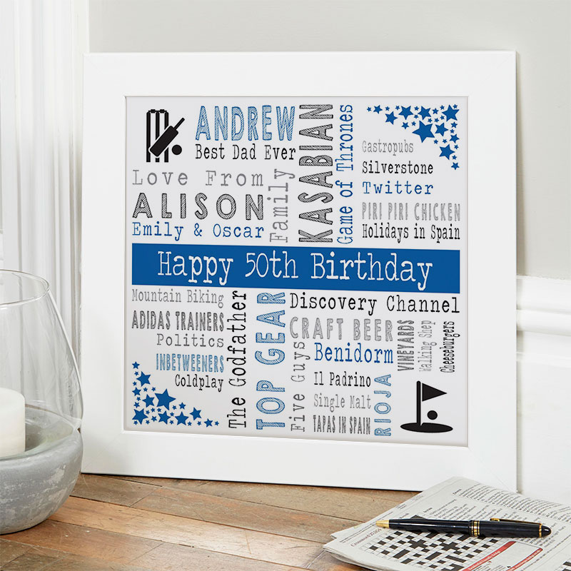 50th birthday gift ideas for him personalized square corners