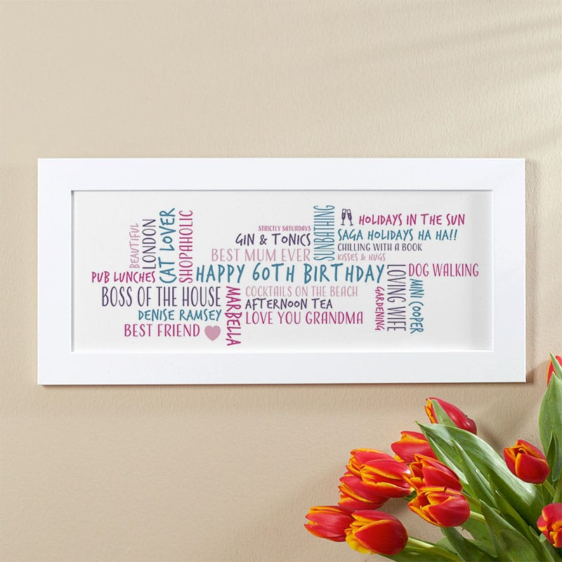 60th birthday gift idea for her personalized word cloud