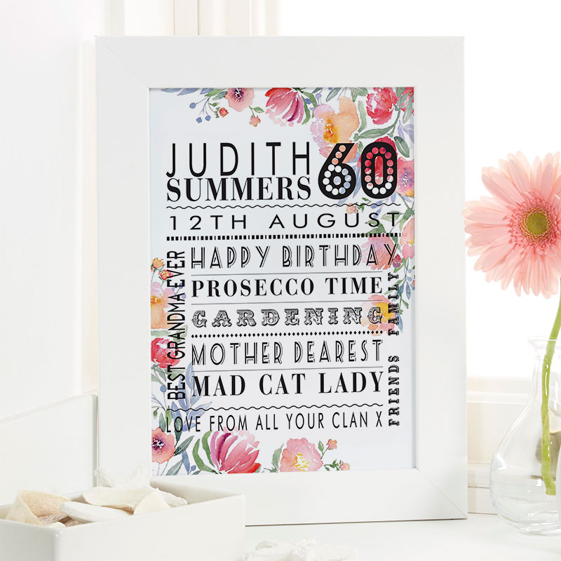 Personalized 60th Birthday Gift For Her