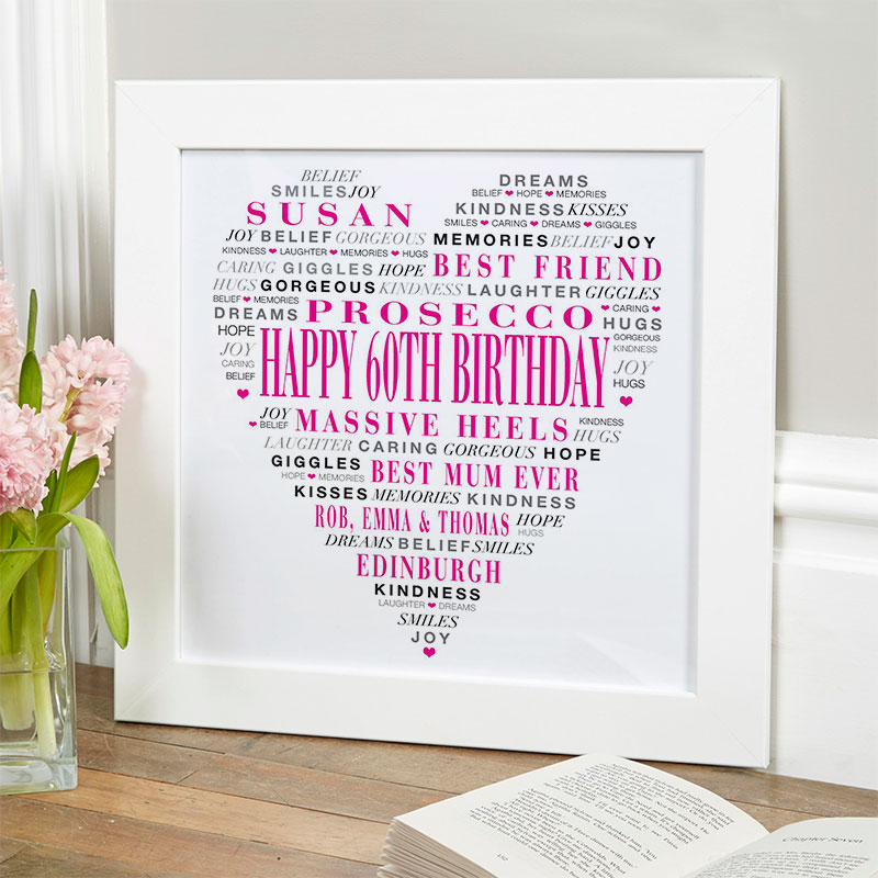 love heart gift for 60th birthday