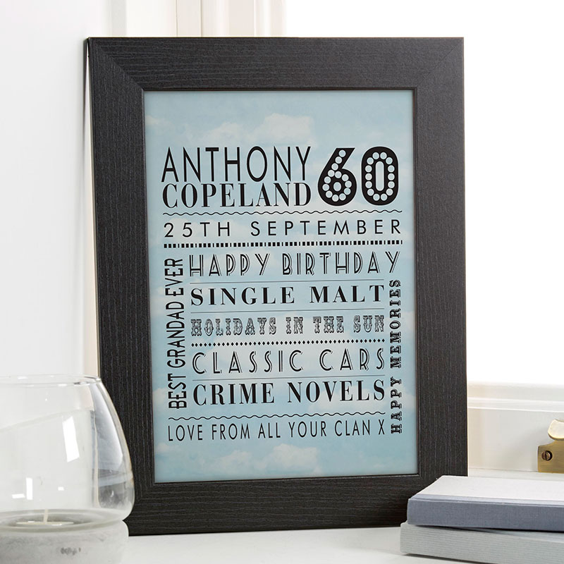 Personalized 60th Birthday Gift For Him