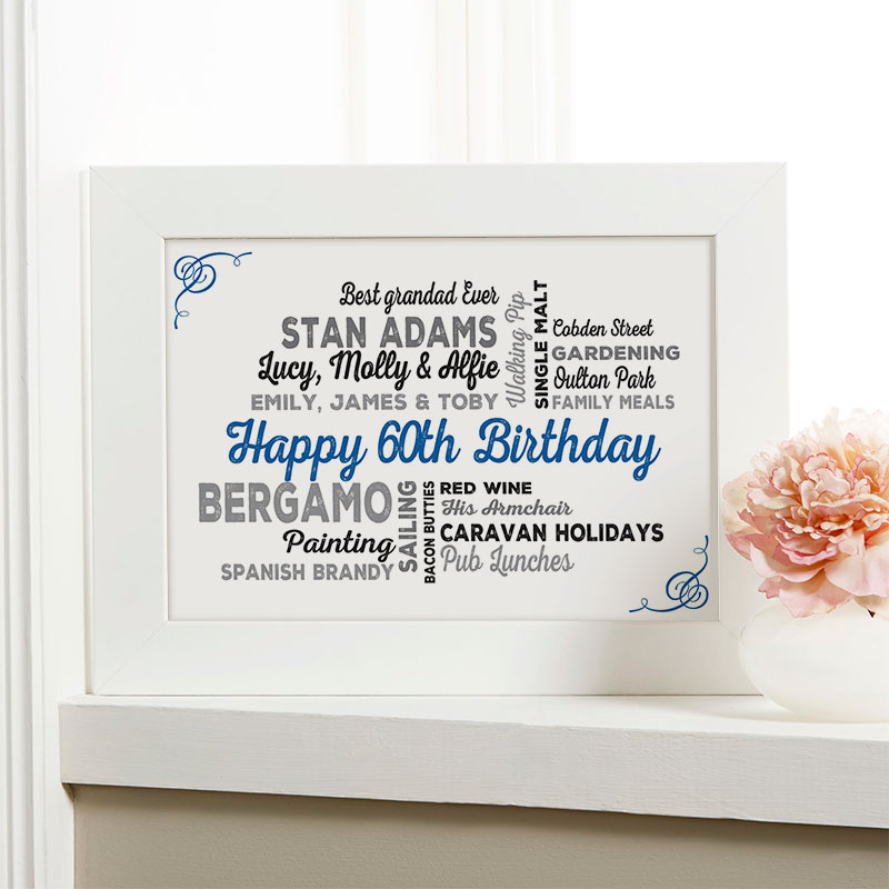 60th Birthday Gift Of Personalized Typographic Art