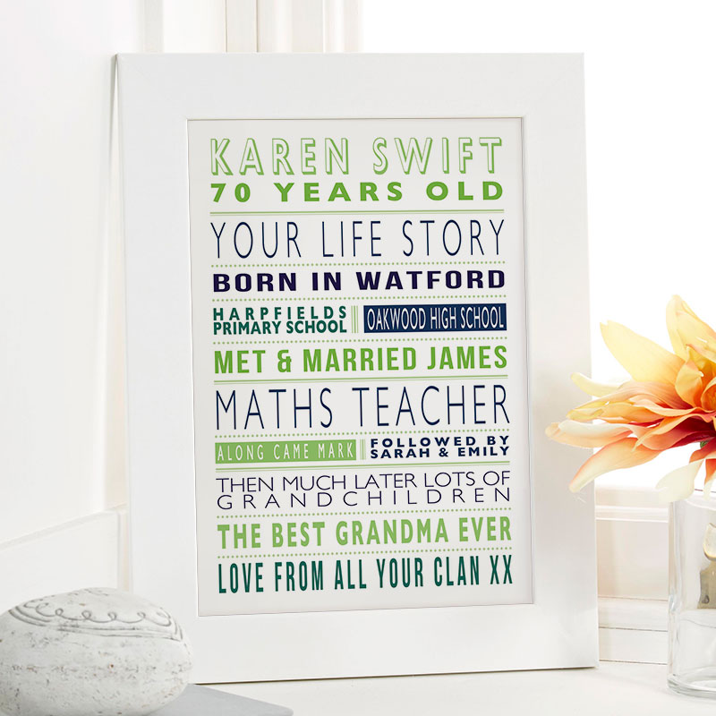 Personalized 70th Birthday Gift For Her
