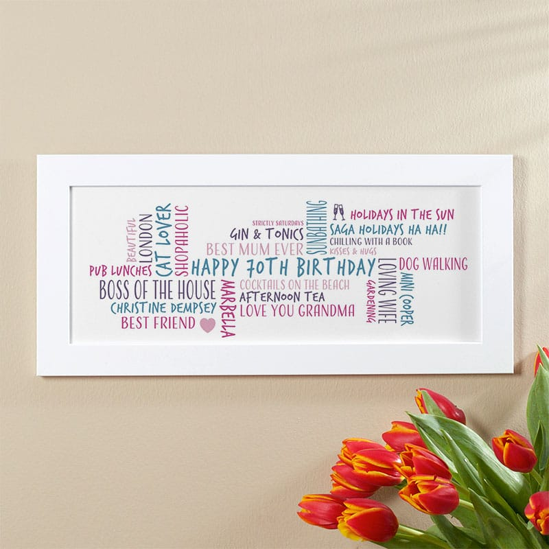 70th birthday gift idea for her personalized word cloud