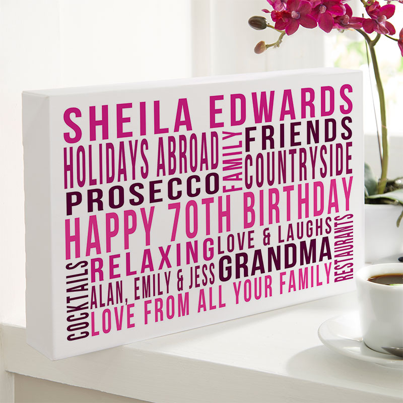 e2a7f5f27 Personalized 70th Birthday Gifts For Her With Words | Chatterbox Walls