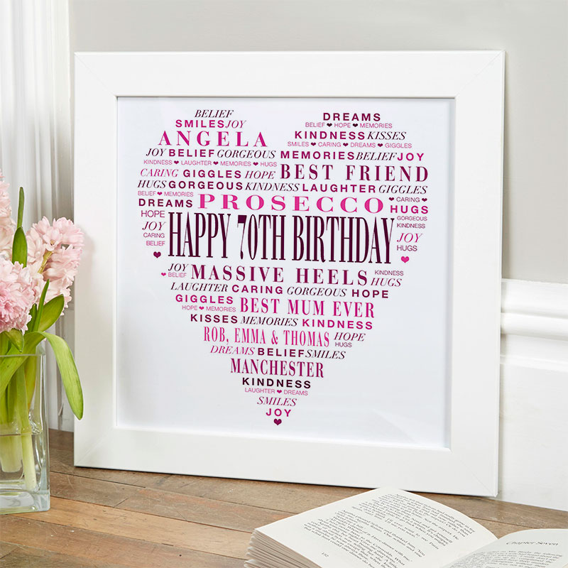 love heart gift for 70th birthday