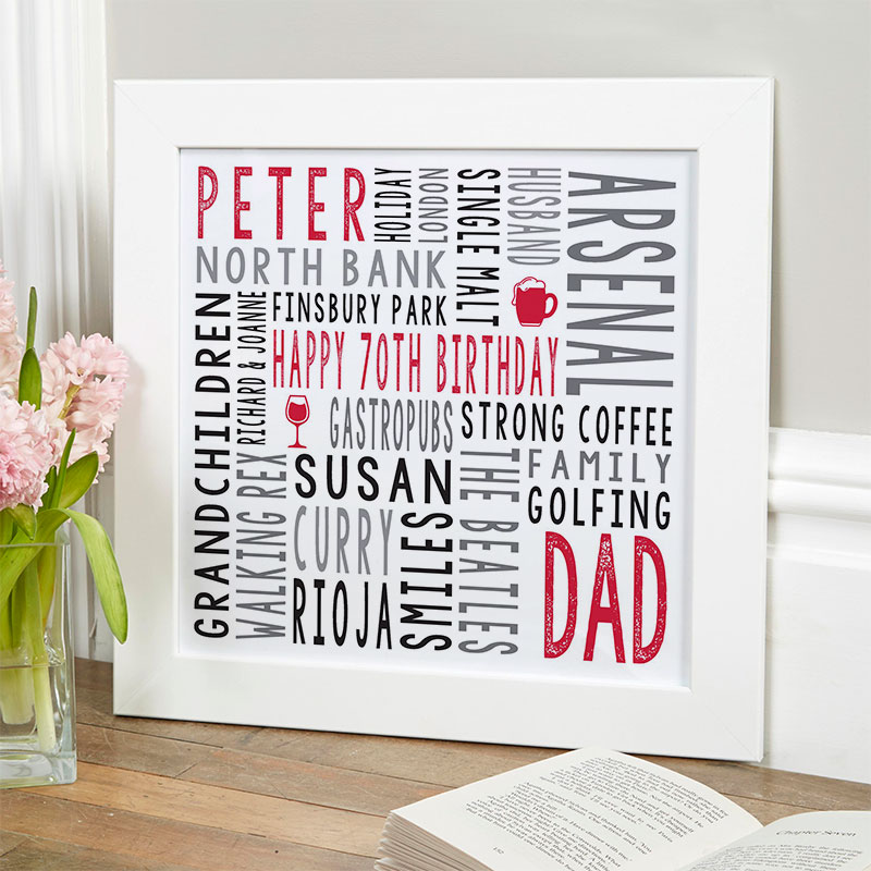 70th birthday gift for him personalized