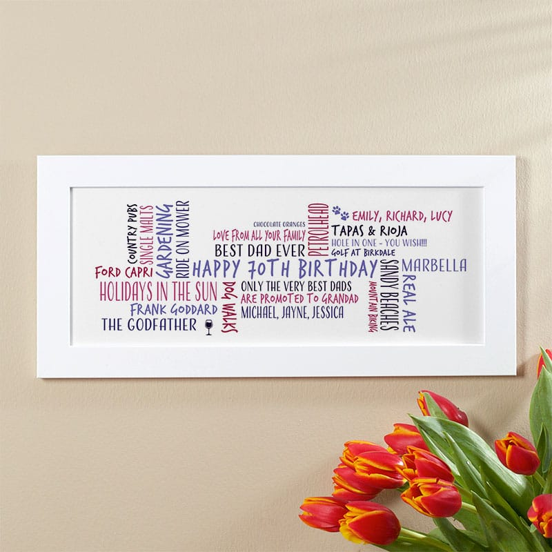 70th birthday gift idea for him personalized word cloud picture print