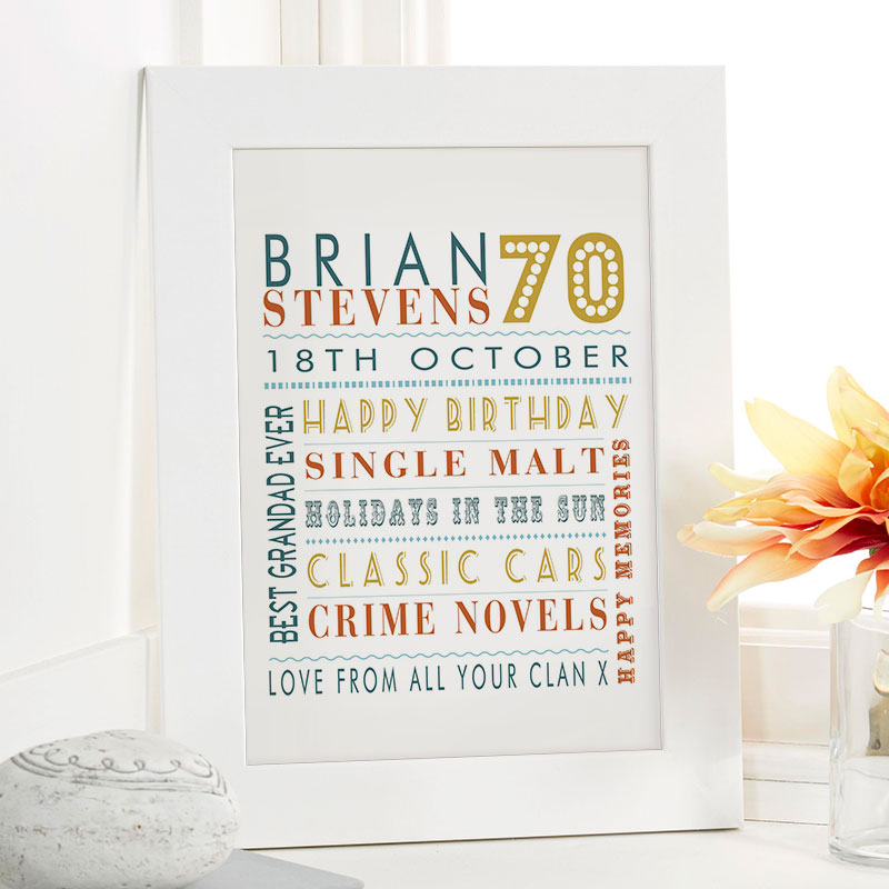 70th Birthday Gift For Him Of Personalized Age Word Art