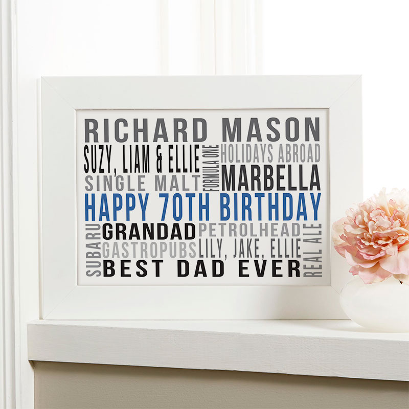 Personalized 70th Birthday Gift Ideas For Him Chatterbox Walls