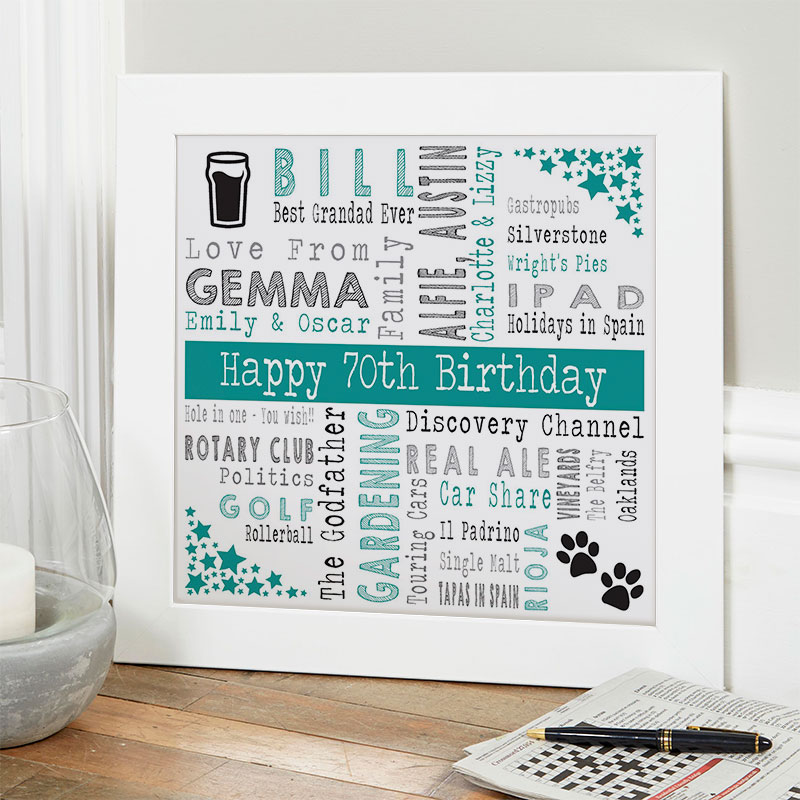 Personalized 70th Birthday Gifts For Him Chatterbox Walls