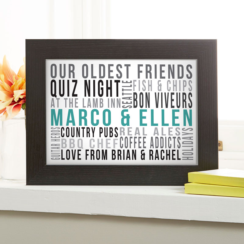 Personalized Gifts for Couples Typographic Word Art Prints & Canvases