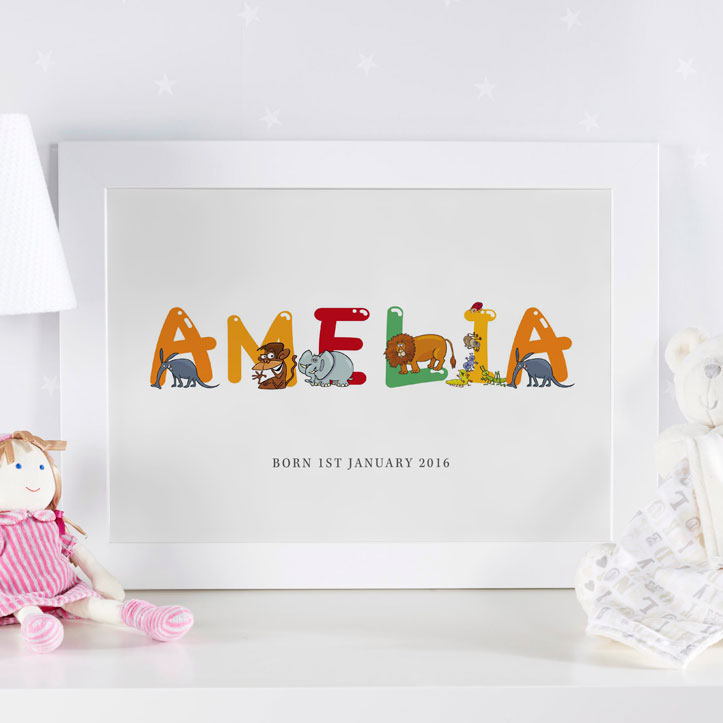 Personalized childrens name art prints canvases chatterbox walls personalized baby name art framed gift personalized name art framed print negle Choice Image